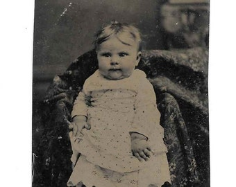 Antique Tintype Photo Chubby Barefoot Baby Girl Boy Dress Eyelet Gown 1800s So Cute