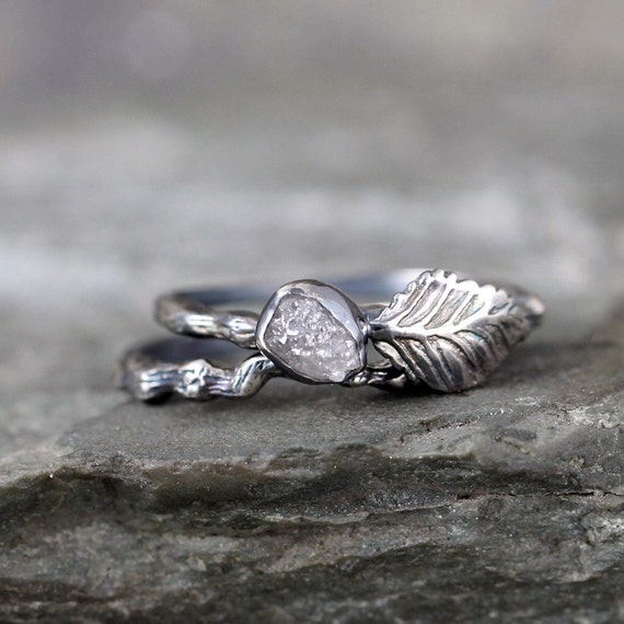 Twig Amp Leaf Raw Diamond Engagement Ring Set Nature By