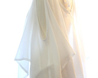 Beach Cover Up Poncho with Handkerchief Hem - White Kaftan in Cotton Gauze - 24 Colors by Mademoiselle Mermaid