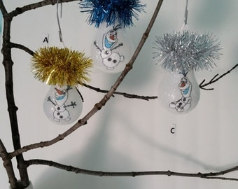 Frozens Olaf handmade snowman light bulb ornament