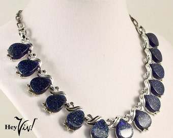 1950s Thermoset Blue Sparkle Necklace - Vintage Cobalt & Green Glitter Drops with Silver Tone Chain