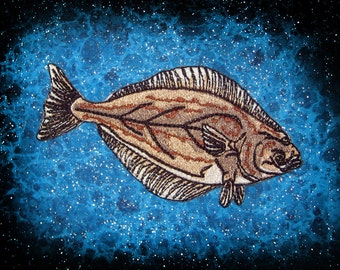 Pacific Halibut Fish Hippoglossus stenolepis Iron on patch