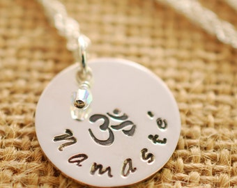 Hand stamped Namaste Necklace - sterling silver namaste jewelry - yoga necklace