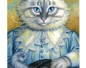 Cavalier Cat Original Oil Painting Mini Print