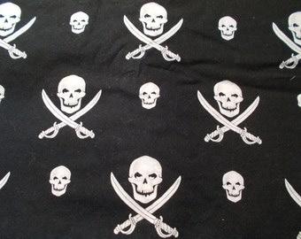 Alexander Henry Jolly Roger Fabric Pirate Skull Sword Cross Bones Biker Novelty Quilting Fabric Yardage 2.5 Yards RARE