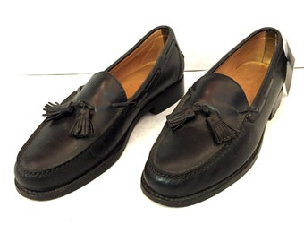 Vintage Loafers Mens Loafers Size 12 Black Loafers Leather Loafers Ralph Lauren Loafers Ralph Lauren Polo Slip Ons Tassels Slip on Shoes