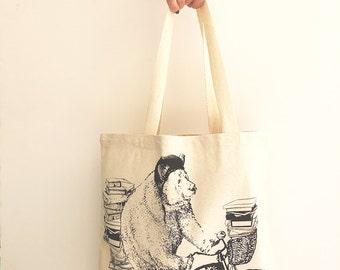 Street Smart BEAR - Eco-Friendly Market Tote Bag - Hand Screen printed (Ships FREE!)