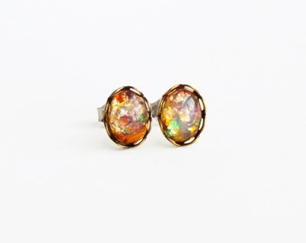 Tiny Opal Studs Small Vintage Glass Harlequin Fire Opal Post Earrings Hypoallergenic Bridesmaids Gift For Her