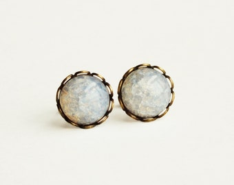 Opal Studs White Crackle Glass Post Earrings Small Vintage Clear White Glass Earrings Hypoallergenic Wedding Winter Bridal Opal Jewelry