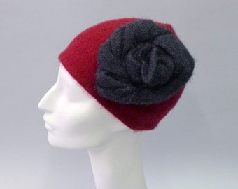 Rose Cloche in maroon with grey rose in Eco Cashmere