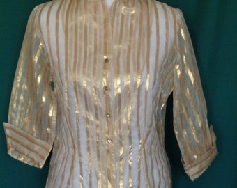 Vintage 50s Gold Metallic Sheer Nylon Blouse Notched Cuffs 38 Rhinestone Buttons