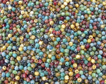 4mm Faceted Opaque Indian Summer Picasso Mix Firepolish Czech Glass Beads - Qty 50 (AS42)