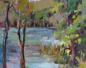 Original Oil Painting Summer Pond by Marty Husted