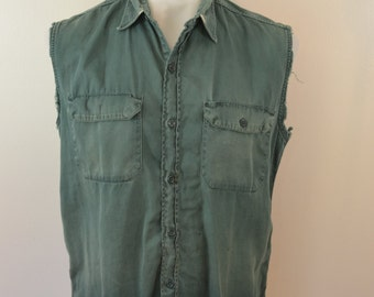 Vintage Penney's BIG MAC Green work shirt 1950's Sanforized Vat Dyed trashed sleeveless