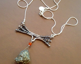 Pyrite nugget Necklace  silver weaved hammered-Wild Branches-Handmade-metal smith Fools gold and carnelian necklace