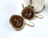 Tabasco Geode Earrings Druzy Earrings Gem Slice Diamond Look Bezel Russet Raw Gem Stone Mineral Jewelry - Santina