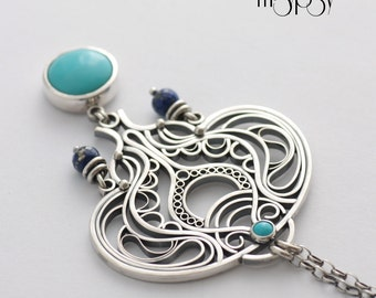Masum - Sterling Silver Henna Necklace with Sleeping Beauty Turquoise and Lapis Lazuli