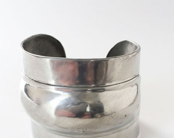Robin Kahn Silver Cuff Bracelet , NY Designer Vintage Jewelry, Wide Sculptural Space Age Cuff