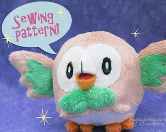 Sewing pattern + instructions - Rowlet plush - DIY