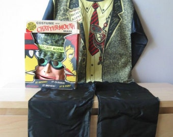 secret agent spy mask vintage halloween costume Chattermouth mask Ben Cooper kids size large