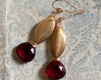 Vermeil, Wire Wrapped Red Quartz Drop, Peach Moonstone Earrings