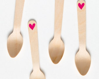 Hearts - 20 Wooden Ice Cream Spoons