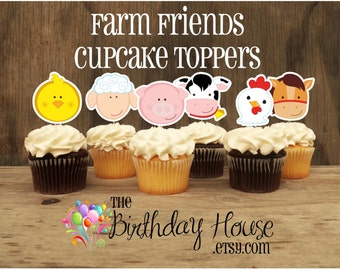 Farm Birthday Party - Set of 12 Farm Friends Cupcake Toppers by The Birthday House