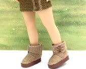 "Ankle Boots, Handmade, fit 13"" Little Darling Dolls, Beige, tan, light brown"