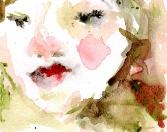 Watercolor Portrait  5 x 7 Womans Face Abstract Watercolor With Mat