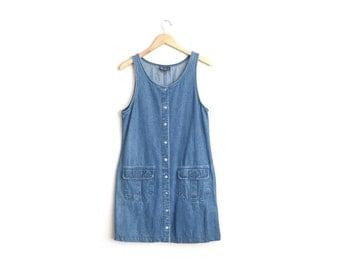 SALE // Size S/M // DENIM POCKET Jumper // Blue - Sleeveless - Button-Front Dress - Vintage '90s.