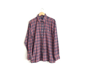 Size L // RED PLAID OXFORD // Long Sleeve Button-Up Shirt - Red & Navy Blue - Vintage '90s Men's.