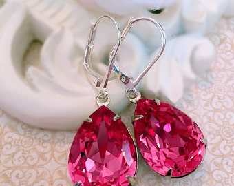 Silver Dangle Earrings - Pink - Crystal Jewelry - Bridesmaid Gifts - CAMBRIDGE Rose