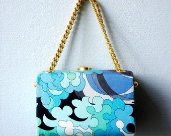 Original Emilio Pucci print silk handbag, 1970s
