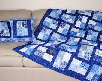 Blue Quilted Throw and Two Decorator Throw Pillows, Snowflakes Winter Christmas Lap Quilt,  Matching Decorative Pillows