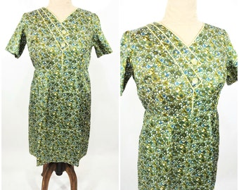 "1960s paisley dress | 60s green printed dress | satin vintage sheath dress | W 36"""