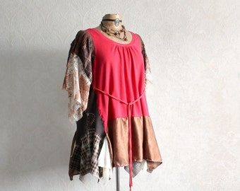 Plus Size Tunic Bohemian Chic Red Boho Shirt Loose Fitting Womens Upcycle Top Gypsy Clothing Lagenlook Clothes Altered Couture XL 1X 'FINLEY