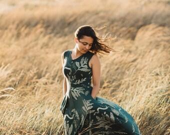 Ephemera || Organic Tank Dress with Pockets, Maxi dress, printed maxi, metallic gold, tent maxi, oversized maxi || by Simka Sol®