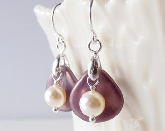 Plum Earrings, Small Dangles, Glass Flower Petal with Cream Swarovski Pearl in Sterling Silver Gift for Sister, Gift  for Bridesmaid