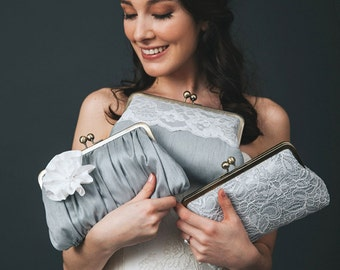 Grey Bridesmaid Clutch | Personalized Bridesmaid Gift Idea | Lace Wedding Clutch Purse [Grey Mist Set]