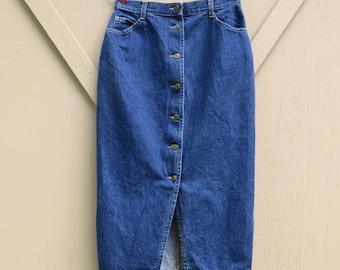 80s vintage High Waist Button Front Dark Wash Denim Pencil Skirt / Courage My Love Jeanswear