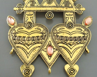 Tribal Pendant Statement Pendant Connector Large Antique Gold Ethnic Pendant  Heart Jewelry Findings Jewelry Supplies - DIY Necklace