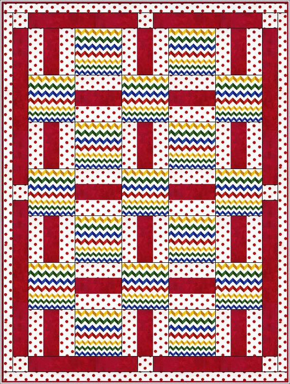 Downloadable Porch Rails Quilt Pattern Easy 3 Yard Design