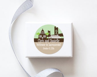 Sacramento, CA Custom Wedding Welcome Stickers - SKYLINE DESIGN