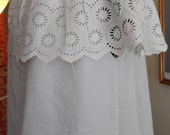 """1900s Off the shoulder blouse cotton and eyelet, 40"""" bust."""
