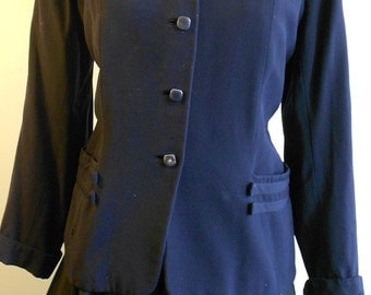"1950's, 42"" bust, dark navy blue rayon gaberdine ladies jacket."