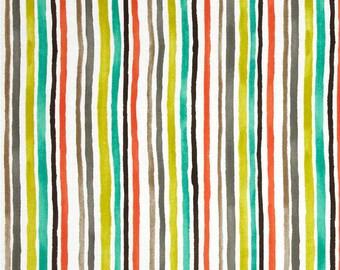 Color Strips Retro Fabric - Mid Century Fabric - Michael Miller Fabric - Michael Miller Discontinued - Retro Stripe Fabric - Orange Grey