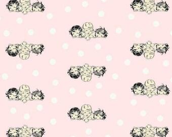Paris Bebe Fabrics -Robin Mynatt Fabric - Ivory Pink Baby Motif Fabric - Pink Baby Fabric - Pink Ivory Dot Baby Print - Discontinued Paris