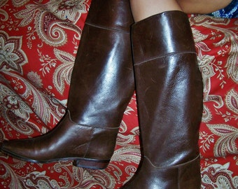 Leather Boots, Tall Leather Boots, Brown Leather boot, made in Spain, size 8.5