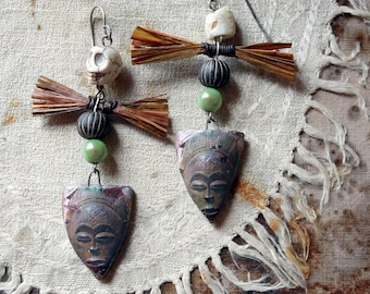 The Kitchen Gods Fiber Art Earrings with Artisan Stoneware, Faience, and Raffia on Hand-formed Sterling Silver