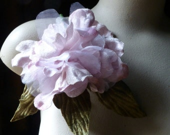 Peony in Pink Velvet & Organdy for Bridal, Corsages, Fascinators, Hats, Bouquets MF 128